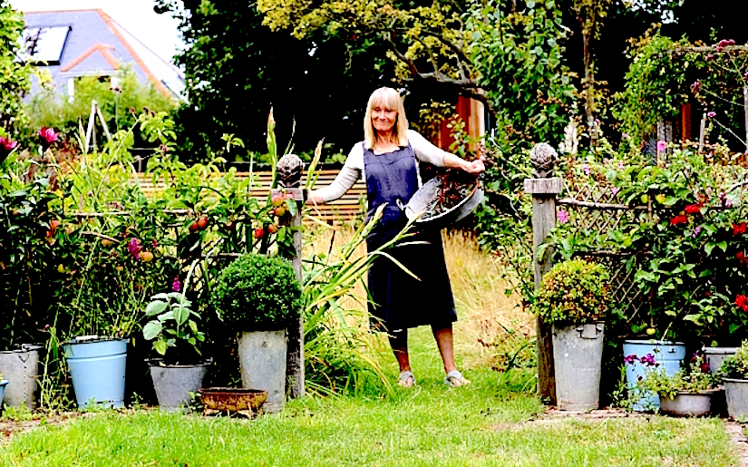 May006436. The Sunday Telegraph. View of plants in writer Francine Raymond's garden in Whitstable, Kent, for an article about planting in containers. Tuesday August 11, 2015. - http://i.telegraph.co.uk/multimedia/archive/03424/Francine_and_pots__3424982b.jpg